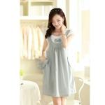 [Preorder] ชุดคลุมท้องสำหรับว่าที่คุณแม่ประดับโบว์ สีเทา Cotton skirt pregnant women dress blue bow Maternity leave two short-sleeved summer Korean