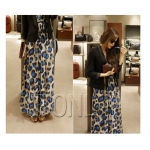 [Preorder] Maxi Dress คอวีลายจุดใหญ่ๆ สีน้ำเงิน Korean version of Leopard Long dress 2013 summer new chiffon V-neck Slim was thin