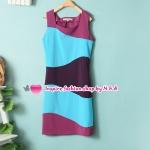 เดรสแขนกุดแฟชั่นหลากสีสัน Spring and summer female Korean fashion mixed colors sleeveless vest, skirt Slim temperament Square Neck was thin dress
