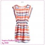 [Preorder] เดรสแฟชั่นแขนสั้นลายขวางสีส้ม round neck colors of the Korean version of the 2012 Summer Slim was thin color stripes waisted chiffon ocean dress