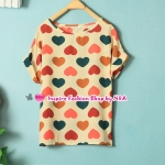 เสื้อแฟชั่นแขนสั้นสกรีนลายหัวใจ Summer female colored hearts printed round neck chiffon shirt European style sweet and loose short-sleeved shirt