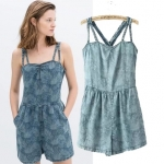 [Preorder] จั๊มสูทยีนส์แฟชั่นสายเดี่ยว สไตล์ยุโรป แบรนด์ ZARA (ไซส์ S M L) ZARA MICN 2014 summer new women's denim shorts female European station printing piece pants shorts women