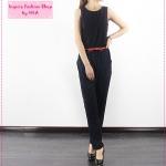 [Preorder] จั๊มสูทแขนกุดกางเกงขายาวสีน้ำเงิน Spring and summer women fashion Korean temperament Slim waist piece pants fold chiffon piece slacks