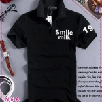เสื้อโปโลแขนสั้น Smile Milk สีดำ Slim spike simple letter of the 2012 men's fashion POLO shirt, POLO shirt men - Lifestyle