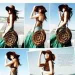 [Preorder] กระเป๋าดอกไม้ถักใบใหญ่สีน้ำตาล Straw bag Messenger the beach bag Korean version of the new influx of female package Zhisheng needle hook petals