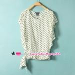 เสื้อแฟชั่นแขนสั้นระบายลายจุดสีขาว Summer new European style retro Polka Dot shirts small fresh and sweet Slim thin short-sleeved shirt
