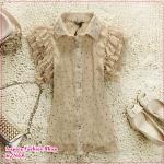 เสื้อแฟชั่นแขนสั้นระบายประดับลูกไม้สี Apricot 2012 short sleeve lace shirt, wooden boats sleeve chiffon shirt shirt lapel lotus leaf lace blouse (Preorder)
