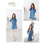 [Preorder] เดรสยีนส์แฟชั่นแขนสั้นเปิดไหล่ ประดับด้วยโบว์ สีน้ำเงิน (ไซส์ M L XL) 2015 summer new Korean Shopping leakage shoulder sweet bow dress