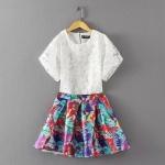 [Preorder] เซ็ทเสื้อแฟชั่นแขนสั้น + กระโปรงบานสั้นลายดอกไม้ (ไซส์ S M) 2015 summer new sweet organza hand-beaded T-shirt printed shirt + tutu skirt suit female bust