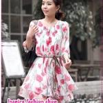 เดรสแขนสามส่วนลายดอกไม้สีชมพู Spring and summer of 2012 the new Women Korean sweet lady Saika sleeve chiffon dress