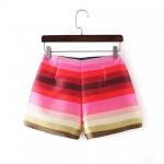 [Preorder] กางเกงขาสั้นแฟชั่นสไตล์ยุโรป ลายขวางสีสายรุ้งชมพู (ไซส์ S M L) 2015 summer new European style women's fashion rainbow stripes wild casual shorts shorts female high waist pants