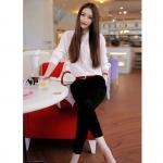 [Preorder] เซ็ทเสื้อแฟชั่นแขนยาวสีขาว + กางเกงขายาวสีดำ มาพร้อมเข็มขัดเก๋ๆ (ไซส์ S M L XL) 2015 European leg of small fragrant wind OL career casual trousers piece suit chiffon shirt female