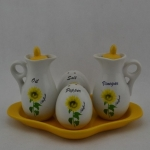 [Preorder] เซ็ทเครื่องปรุงแบบ 4 ชิ้น ลายดอกไม้สีเหลือง Kitchen ceramic spice jar seasoning creative suite Spice Box sent spoon sauce pot racks base