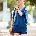 เสื้อแขนยาวแฟชั่นเปิดไหล่สีน้ำเงิน 2012 new Korean version of the relaxed version of women's summer round neck short-sleeved T-shirt bat sleeve T good quality