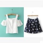 [Preorder] เซ็ทเสื้อแฟชั่นแขนสั้นเปิดไหล่สีขาว + กระโปรงบานสั้นลายดอกไม้สีน้ำเงิน (ไซส์ S M L) Korean version of the new 2015 summer sweet strapless flounced chiffon shirt + Sling printed skirts women Slim Suit