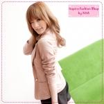 [Preorder] เสื้อแจ็กเก็ต (เสื้อสูท) แขนยาว สีชมพู Korean Women autumn and winter new logo buckle pocket leisure suit jacket suit jacket female