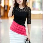 [Preorder] เดรสแฟชั่นแขนสามส่วนประดับลูกไม้สีชมพู beautiful new winter lace hit color stitching package hip Slim was thin sleeve dress dress
