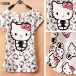 [Preorder] เสื้อยืดแฟชั่นแขนสั้นสกรีนลาย Hello Kitty Junior high school students every day special summer youth academy cute cartoon style girl T-shirt