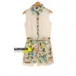[Preorder] จั๊มสูทแฟชั่นแขนกุดลายดอกไม้ สีขาวครีม 2013 summer new Korean foreign trade small fresh wild sleeveless lapel floral piece shorts jumpsuit women
