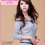 [Preorder] เสื้อแฟชั่นแขนยาวสีเทา Korean women's new casual leave two long version T-shirt