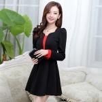 [Preorder] เดรสทำงานแฟชั่นสไตล์เกาหลีประดับโบว์ สีดำ (ไซส์ M L XL XXL) 2014 Hot Korean fashion fresh and sweet temperament lady was thin Slim A word skirt dress