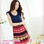 [Preorder] เดรสแฟชั่นแขนกุดสีน้ำเงินชมพู Dazzling hit stripes dress Tokyo Fashion 100%