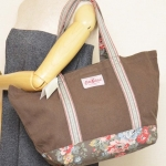 SALE SALE SALE Cath Kidston colour block tote canvas bag floral khaki
