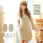 [Preorder] สเว็ตเตอร์แขนยาวแฟชั่น สี Apricot Color point color mixing round neck sweater long version (แบรนด์ YOCO)