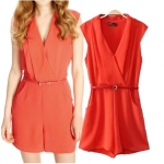 [Preorder] จั๊มสูทแฟชั่นสไตล์ยุโรปคอวี สีแดง (ไซส์ S M L) ASOS MICN 2014 summer new European style female models V-neck sleeveless belt female Siamese shorts