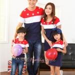 ชุดครอบครัว เสื้อครอบครัวผ้ายืดลายขวาง 3สี สกรีนลายดาว (ราคา 3 ตัว พ่อ แม่ ลูกสาว) - พร้อมส่ง