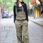 จั๊มสูทเสื้อแขนยาวกางเกงขายาวสีเขียวทหาร Spring and summer of 2012 the Korean version of the new Women casual fashion thin piece pants wide leg pants strap trousers