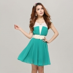 [Preorder] เดรสทำงานชีฟองแฟชั่นแขนสั้น สีเขียว (พร้อมเข็มขัด) 2013 summer new Korean version of Slim short sleeve ladies chiffon pleated dress ladies stitching