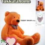 ตุ๊กตาหมียิ้มผูกโบว์ Teddy 1.2 เมตร สีน้ำตาลอ่อน ตุ๊กตาตัวใหญ่น่ารักน่ากอด