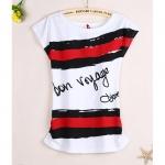 [Preorder] เสื้อยืดแฟชั่นแขนสั้นสกรีนลาย Bon voyage 2013 summer new Korean women loose short-sleeved t-shirt women's casual fashion new Korean version of summer tops tide