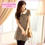 [Preorder] เดรสแฟชั่นแขนสั้นลายเสือดาวสีน้ำตาล The bead collar leopard woolen dress