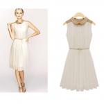 [Preorder] เดรสแฟชั่นแขนกุดพลีทรอบ แบรนด์ Zara สีงาช้าง 2013 summer new doll collar pleated waist was thin sleeveless chiffon dress children summer