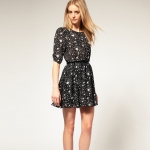 [Preorder] เดรสแฟชั่นแขนสามส่วนลายดาว สีดำมาพร้อมเข็มขัดเก๋ ไซส์ XS - ไซส์ XXL 2013 star print chiffon dress sleeve dress with belt