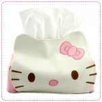 [Preorder] กล่องใส่กระดาษทิชชู่ Hello Kitty สีชมพู cute hello kitty leather tissue pumping KT cat leather Tissue (2 อัน/แพ็ค)