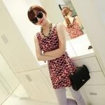 [Preorder] เดรสแฟชั่นแขนกุดสำหรับสาวไซส์เล็ก ลาย Geometrix สีชมพู 2013 summer new super wild multicolor Korean Women Long Vest