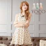[Preorder] เดรสแฟชั่นแขนกุดลายโบว์ สีแอพริคอท Wool sleeveless dress sequined bow (แบรนด์ Tokyo Fashion นำเข้าจากไต้หวัน)