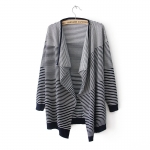 [Preorder] เสื้อคลุมแฟชั่นแขนยาวลายขวาง สีน้ำเงิน 2013 fall and winter clothes Korean version of the new women's long sleeve striped sweater cardigan coat irregular big yards personality