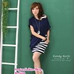 เดรสแขนกุดลายขวางพร้อมเสื้อคลุมตัวนอกสีน้ำเงิน the new Plain oblique hem blouse + color stripe pocket dress two-piece
