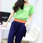 จั๊มสูทแฟชั่นสีเขียวน้ำเงินพร้อมเข็มขัดสีส้ม designs of mixed colors hit the color big piece harem pants
