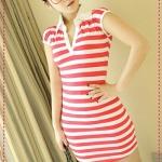 เดรสแขนสั้นลายขวางสีชมพูขาว JackGrace lapel stripes Slim dress