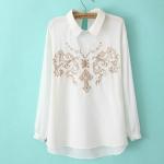 [Preorder] เสื้อแฟชั่นแขนยาวสไตล์ยุโรป ปักลวดลายเก๋ๆ สีขาว 2014 spring new Korean temperament elegant chest embroidery shirt female long-sleeved shirt collar embossed tide