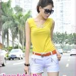 กางเกงขาสั้นแฟชั่นสีขาวพร้อมเข็มขัดเก๋ๆ หัวแอปเปิ้ล 2012 new Korean version of sweet lace zipper cotton shorts overalls (Free Belt)