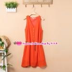 เดรสแขนกุดกระดุมหน้าสีส้มพร้อมเข็มขัด 2012 spring and summer new Korean fashion solid color vest dress with belt Slim temperament chiffon dress