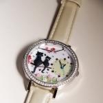 [Preorder] นาฬิกาข้อมือประดับแมวเหมียวและดอกไม้ Korea genuine MINI table Japan handmade polymer clay watch cat passphrase cartoon watches female table