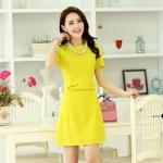 [Preorder] เดรสทำงานแฟชั่นแขนสั้นประดับโบว์เก๋ๆ สีเหลือง (ไซส์ S M L XL) 2015 spring new women star with a simple bow princess style short-sleeved dress