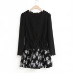 [Preorder] เดรสแฟชั่นแขนกุดพร้อมเสื้อคลุมตัวนอก สีดำ 2014 spring and summer new commuter Korean long-sleeved two-piece dress printed dress skirt suit women